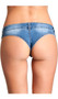 Low rise mini jean shorts feature a button fly front, belt loops and cheeky cut back.