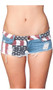 Low rise mini jean shorts feature faded American Flag design, a zipper fly with button closure, five pockets, belt loops, frayed hems and distressed front and back.
