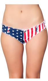 Low rise mini jean shorts feature American Flag design, a zipper fly with button closure, belt loops, frayed edges and a cheeky cut back.
