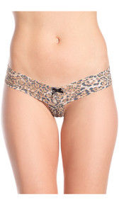 Leopard print lace crotchless thong features scalloped trim and a mini satin bow.