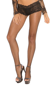 Lycra diamond net back seam pantyhose with attached panty.