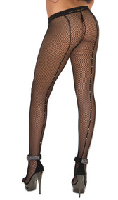 Fishnet pantyhose with rhinestone back seam.