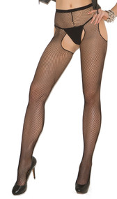 Fishnet suspender pantyhose. Crotchless.