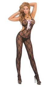 Bow tie lace bodystocking with open back, spaghetti straps, pink satin lace up front, and open crotch.