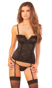 Bustier with all over ruching, boning, and hook and eye front closure. Shoulder straps and garters are adjustable and detachable. Matching g-string included.
