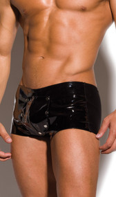 Vinyl and Lycra shorts with breakaway pouch.
