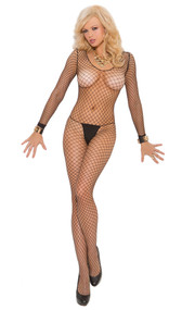Fence net long sleeve bodystocking with open crotch.