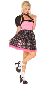 Sock Hop Cutie Costume includes dress, shrug and neck scarf. Three piece set.