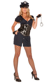 Lieutenant Lockdown costume includes dress, vinyl zip-front waist cincher, fingerless gloves, plastic handcuffs and hat. Five piece set.