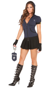 Miranda Rights police officer costume includes short sleeve zip front hoodie, capris, pleated mini skirt, fingerless gloves and handcuff purse. Five piece set.