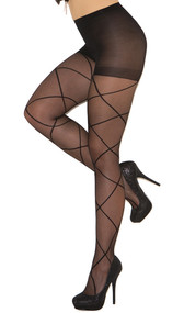 Sheer pantyhose with criss cross detail.