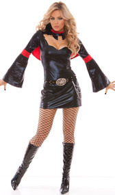 Vivacious Vamp costume includes: long sleeve dress with cut out bat design and attached cape, with belt. Belt design differs from the picture, buckle features a butterfly. Two piece set.