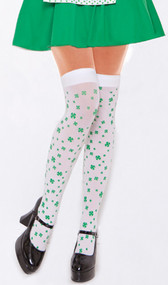 Opaque thigh high with four leaf clover print.