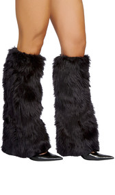 Knee high faux fur leg warmer.