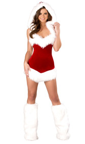 Christmas Beauty costume includes hooded velvet mini dress with faux fur trim.