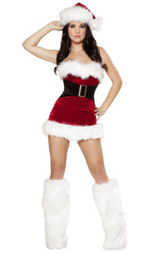 Mistletoe Cutie Santa costume includes strapless corset with lace up back and buckle front detail. Skirt with fur trim also included.  Two piece set.
