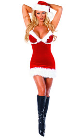 Miss Santa Costume includes fur trimmed dress with spaghetti straps and pom pom detail.  Straps tie around neck. One piece.