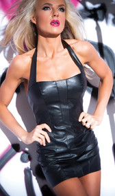 Halter style faux leather dress with zip up back.