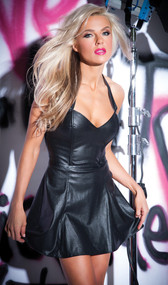Halter style faux leather mini dress with zip up back.