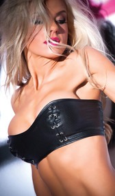 Strapless faux leather bandeau bustier with lace up back and front lace up detailing.