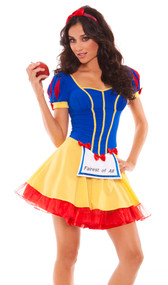 Fairest of All costume includes dress with attached light up apron and headband with bow.
