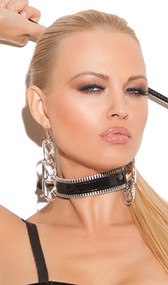 Vinyl choker with zipper trim detail on top and bottom.