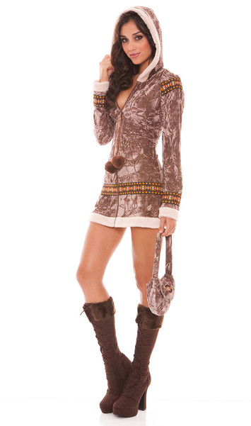 Arctic Princess costume includes long sleeve zip front hooded dress with faux fur trim and pom pom detail, and purse. Two piece set.