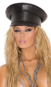 Leather dominatrix hat. This is a rigid, non-collapsible, non-adjustable hat.