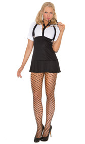 Business School Girl costume includes short sleeve mini dress with detachable suspenders and neck tie.