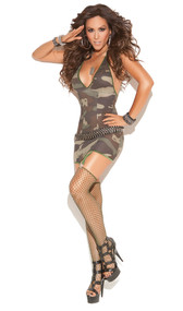Camouflage halter style mini dress with attached garters and diamond net thigh high stockings.