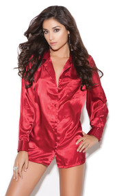 Charmeuse satin long sleeve sleep shirt. Button up front with breast pocket.