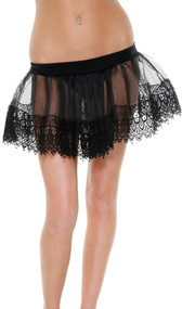 Layered short lacey petticoat.