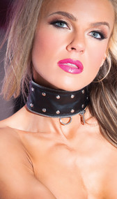 Faux leather zip and rivet collar with adjustable snap back closure, D ring and studded detail.