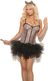 Feline FiFi costume includes sleeveless leopard print tutu dress, detachable tail, neck piece and cat ears headband. Four piece set.