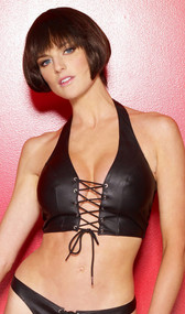 Leather halter bustier with lace up front and Lycra back.