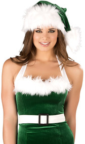 Fur trimmed velvet Santa hat. Green with white trim.