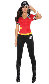 High Octane Honey racing costume includes short sleeve top with zipper and checkered flag trim, pants and hat. Three piece set.