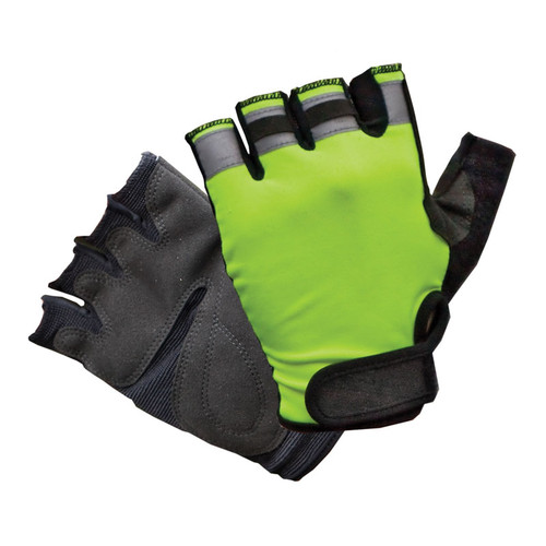 Hi-Vis Half Finger Work Gloves
