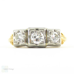 1940s Diamond Engagement Ring, Three Round Brilliant Diamonds in Square Shape Two Tone 18 Carat Gold Setting with Milgrain.