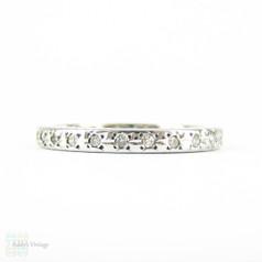 Vintage Diamond Eternity Ring, 18 Carat White Gold Pave Full Hoop Diamond Wedding, Anniversary Ring. Circa 1950s, Size P / 7.75.