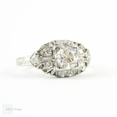 Old European Cut Diamond Engagement Ring. Art Deco Platinum Engraved Filigree Edwardian 0.70 ctw Diamond Ring, Circa 1910s.