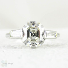 Antique Asscher Cut Diamond Engagement Ring, 3 Stone Diamond Ring with Baguette Accent Diamonds. Edwardian 1900s - 1920s.