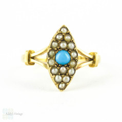 Victorian Turquoise & Seed Pearl Navette Shaped Ring in 15 Carat Gold, Antique Marquise Shape Gold Ring. Circa 1890s.