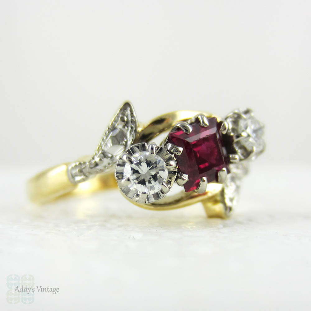 Vintage Ruby & Diamond Engagement Ring Trilogy Ring in Bypass