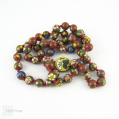 1960s Cloisonné Necklace, Vintage Floral Design Beaded Enamel Necklace on Knotted Red Thread, 63.5 cm / 25 inches.
