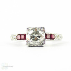 Old European Cut Diamond Engagement Ring with Square Cut Ruby & Round Brilliant Diamond Accents. Circa 1930s, 18ct