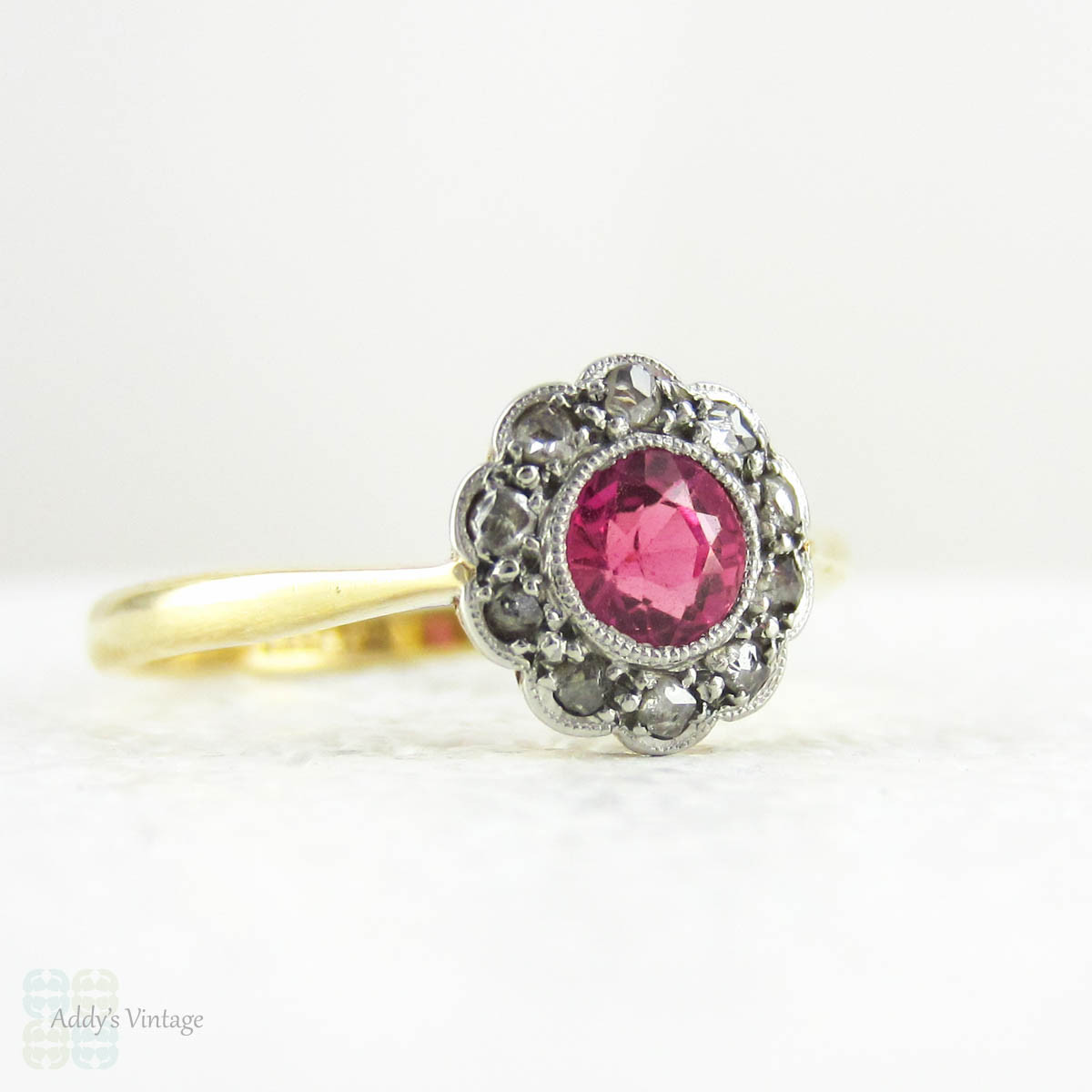 art deco ruby engagement ring daisy flower shaped cluster ring with rose cut diamond halo pink. Black Bedroom Furniture Sets. Home Design Ideas