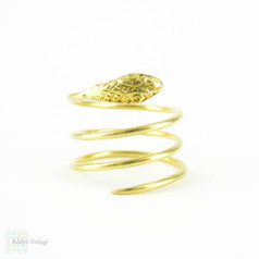 Vintage Coiled Snake Ring, Serpent 18 Carat Yellow Gold Ring. Wide Engraved Snake Ring, 18K, Size K.5 / 5.5.