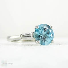 Blue Zircon & Diamond Engagement Ring, Round Blue Zircon with Tapered Baguettes in Vintage Platinum Setting, 2.45 ctw.