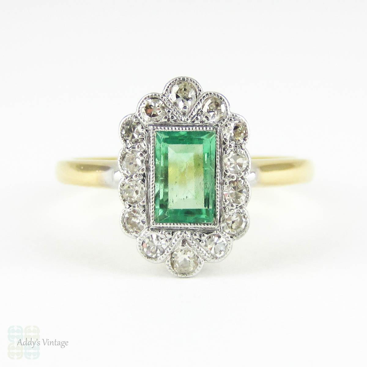 deco emerald engagement ring light green